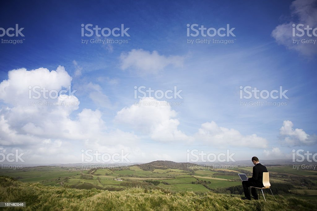 Man in his outdoor office stock photo