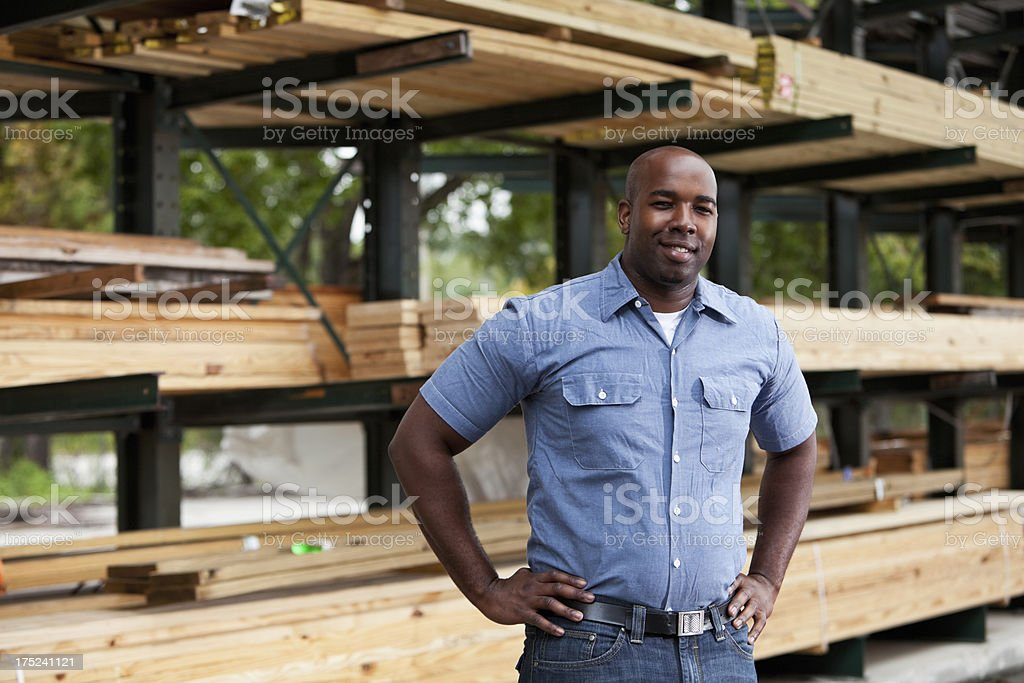 Man in home improvement store stock photo