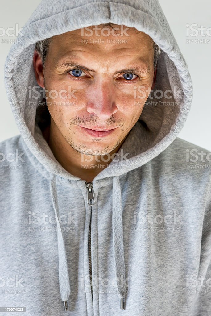 man in hooded shirt royalty-free stock photo
