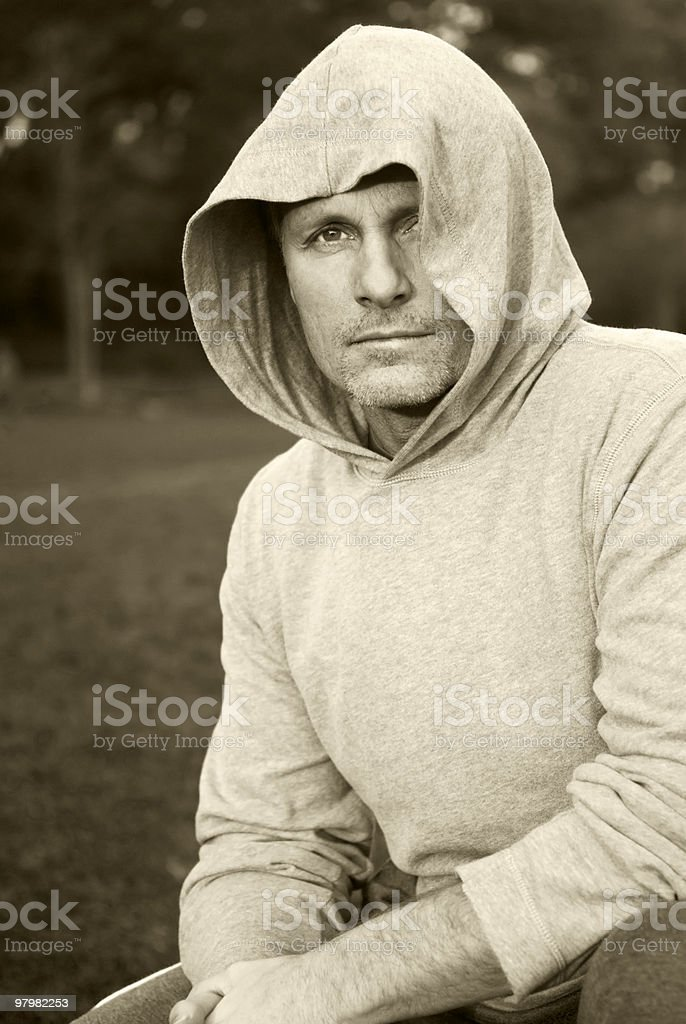 man in hooded top royalty-free stock photo