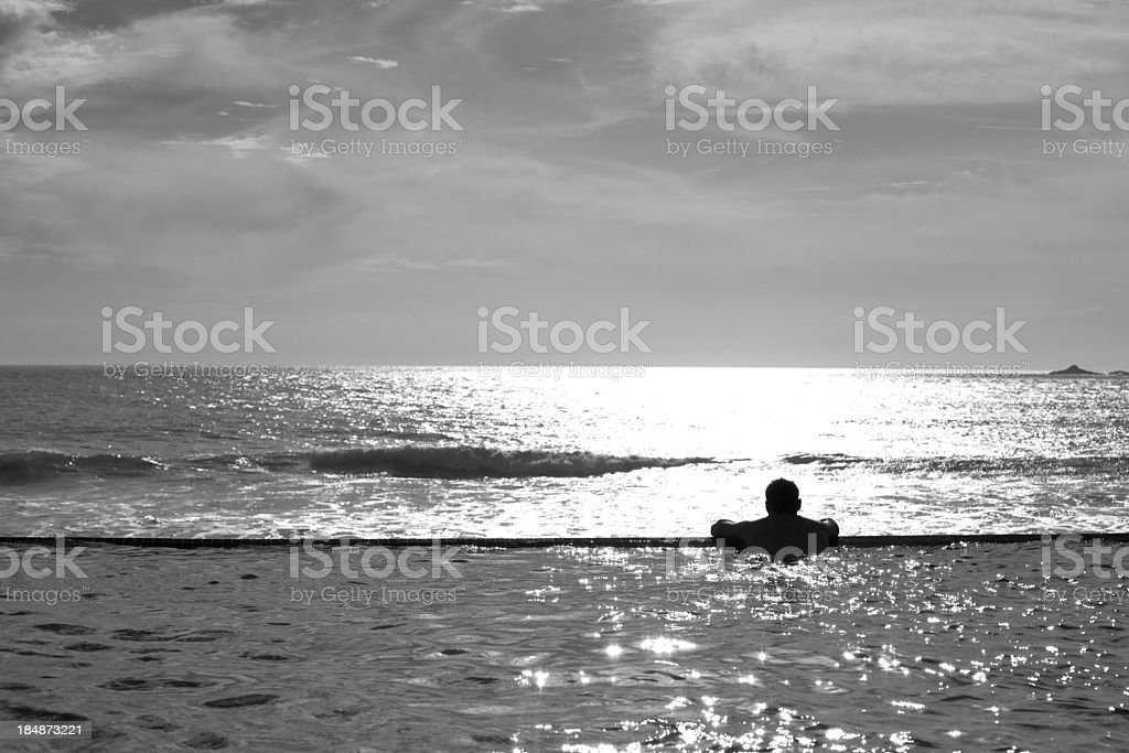 Man in Infinity Pool royalty-free stock photo