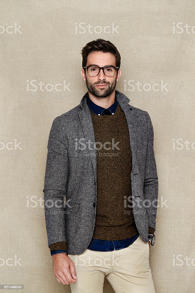 Man in jacket and sweater, studio shot foto stock royalty-free