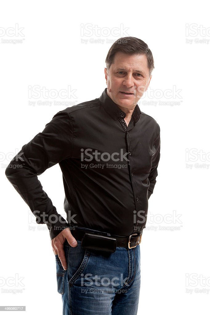 Man in jeans and shirt royalty-free stock photo
