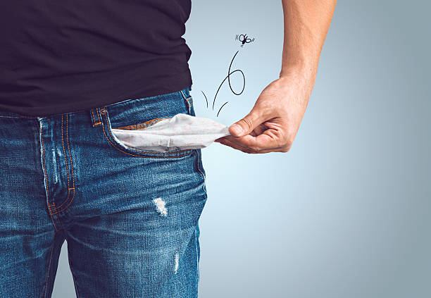 man in jeans with empty pocket - pocket stock photos and pictures