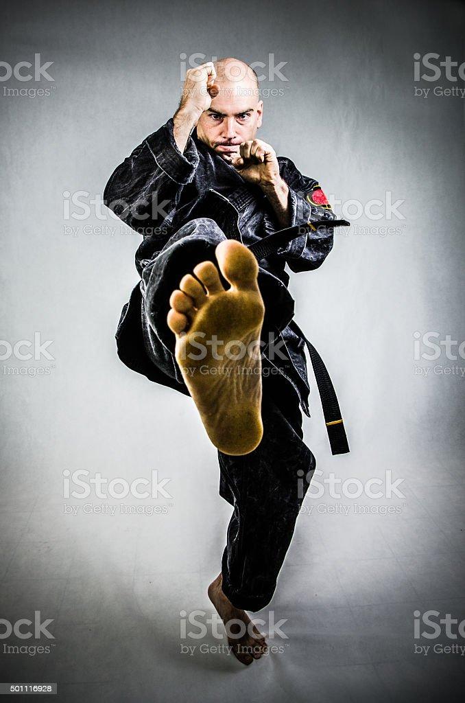 Man in karate doing kick stock photo
