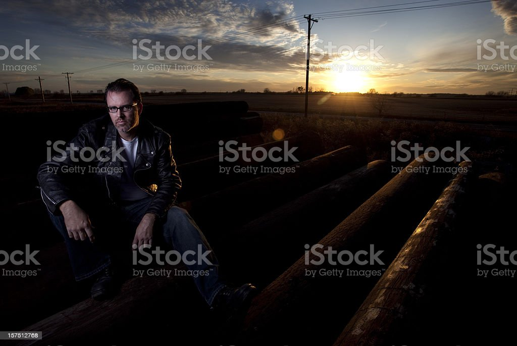 Man in leather jacket portrait royalty-free stock photo