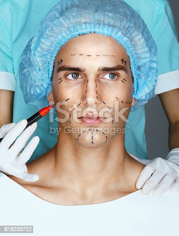 Man in medical hat before plastic surgery with surgical lines on face. Doctor's hands with marker draws surgical lines on the face (forehead, eyes, nose, cheekbone and jaw).