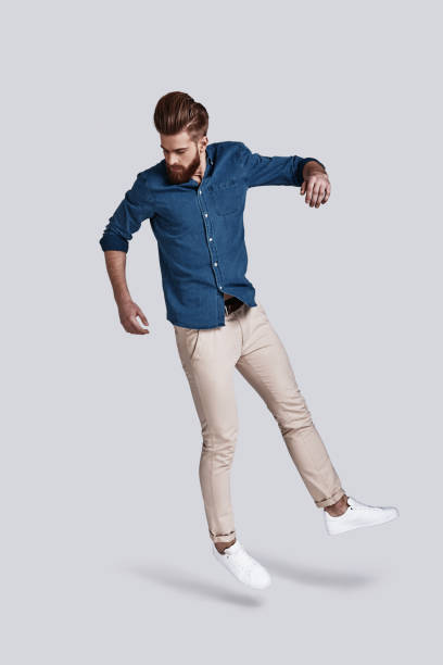 man in mid-air. - on air stock photos and pictures