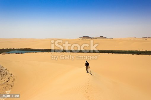 980314112 istock photo man in middle of desert heading long water source 494811238