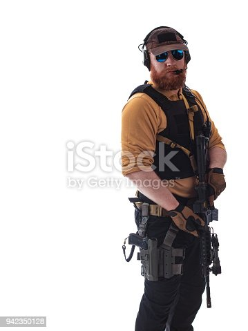 istock man in military outfit Russian or American adviser in modern times on a white background in studio 942350128