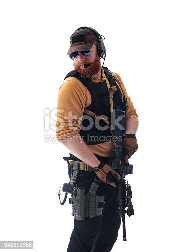 istock man in military outfit Russian or American adviser in modern times on a white background in studio 942353988
