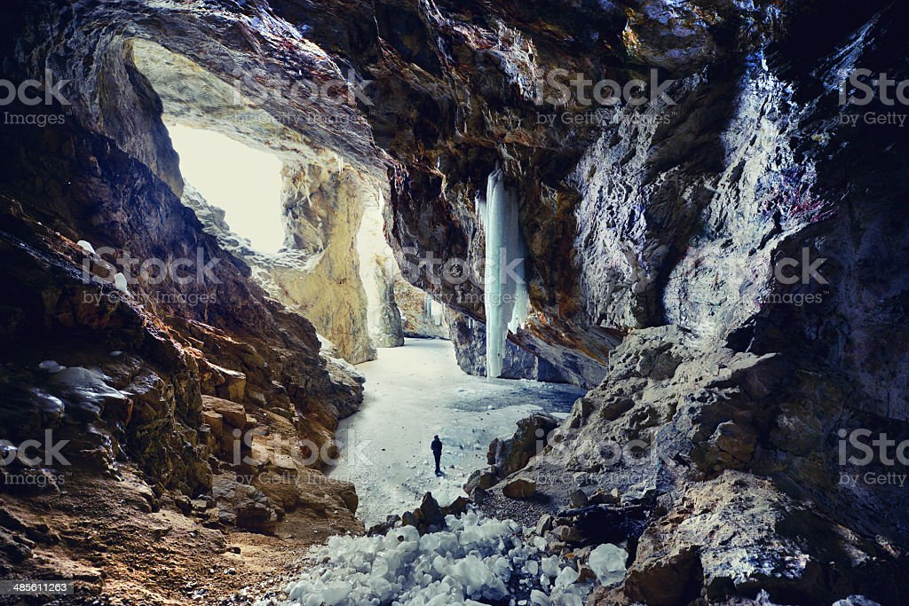 Man in Mining Cave at Winter stock photo
