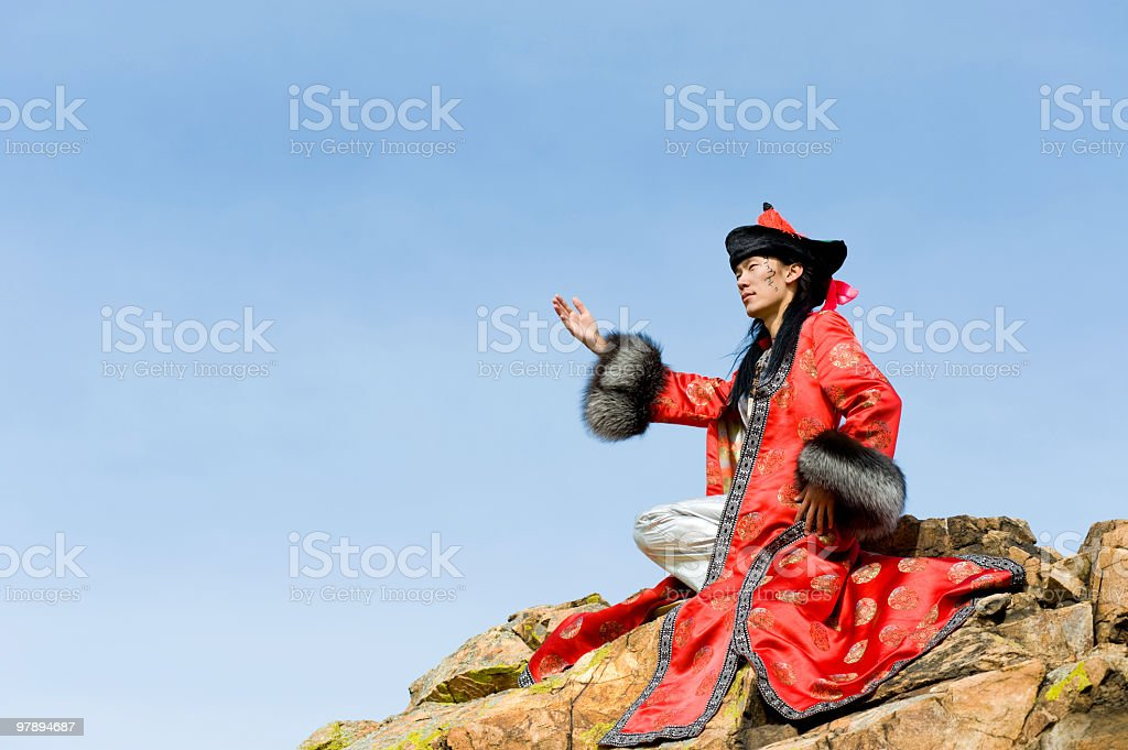 man in Mongolian costume royalty-free stock photo