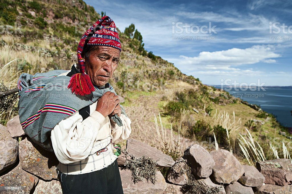 Man in national clothing on Taquile Island, Peru stock photo