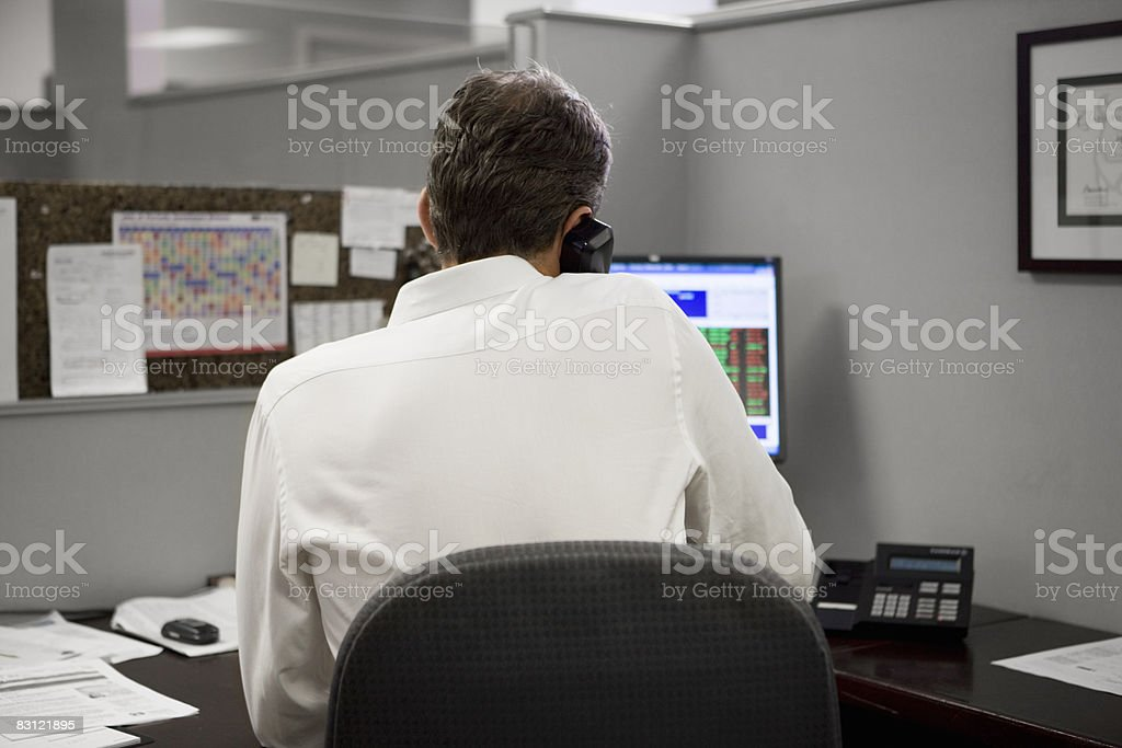 man in office on the telephone  40-44 Years Stock Photo