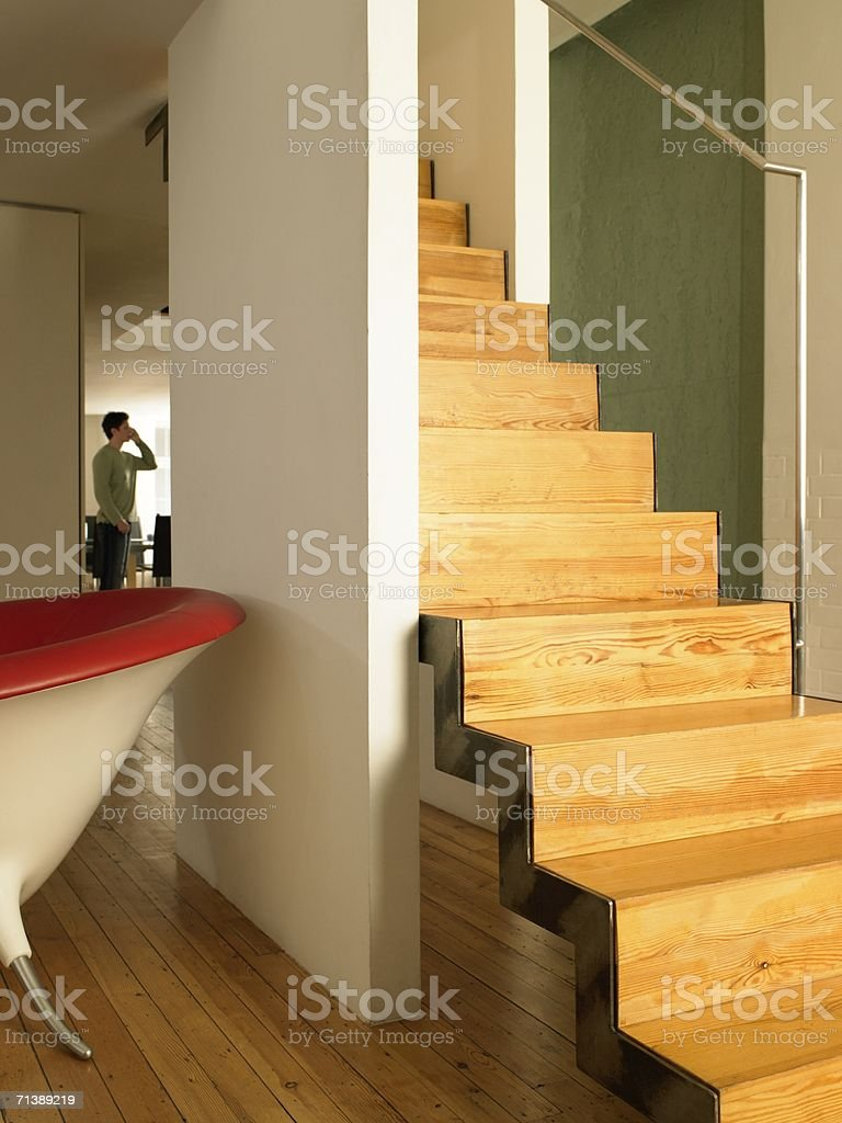 Man in open plan house royalty-free stock photo