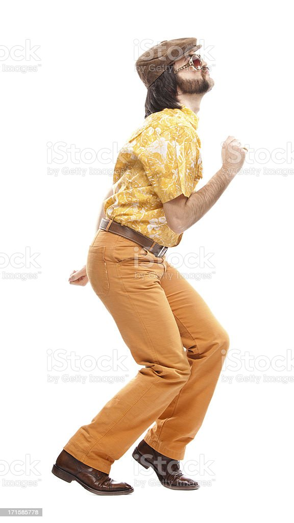Man in orange retro 1970s Hawaiian shirt disco dancing royalty-free stock photo