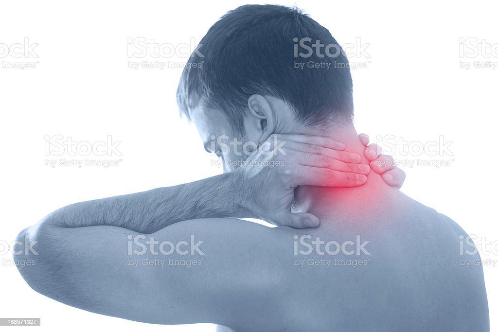 Hombre con dolor - Foto de stock de Dolor de cuello libre de derechos
