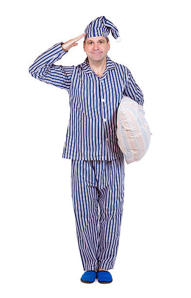 man in pajamas stock photo