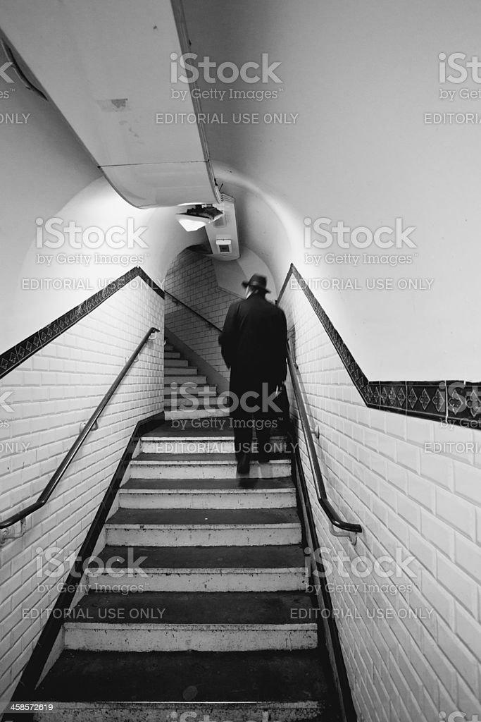 Man in Paris Metro, Black and White royalty-free stock photo