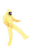 Man wearing hazmat suit ( protective clothing )