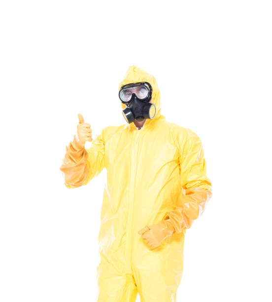man in protective clothing with thumbs up - tuta protettiva foto e immagini stock