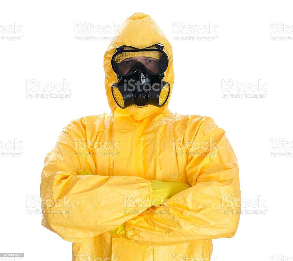 Mann in schützende hazmat passende.  Isoliert auf weiß. – Foto