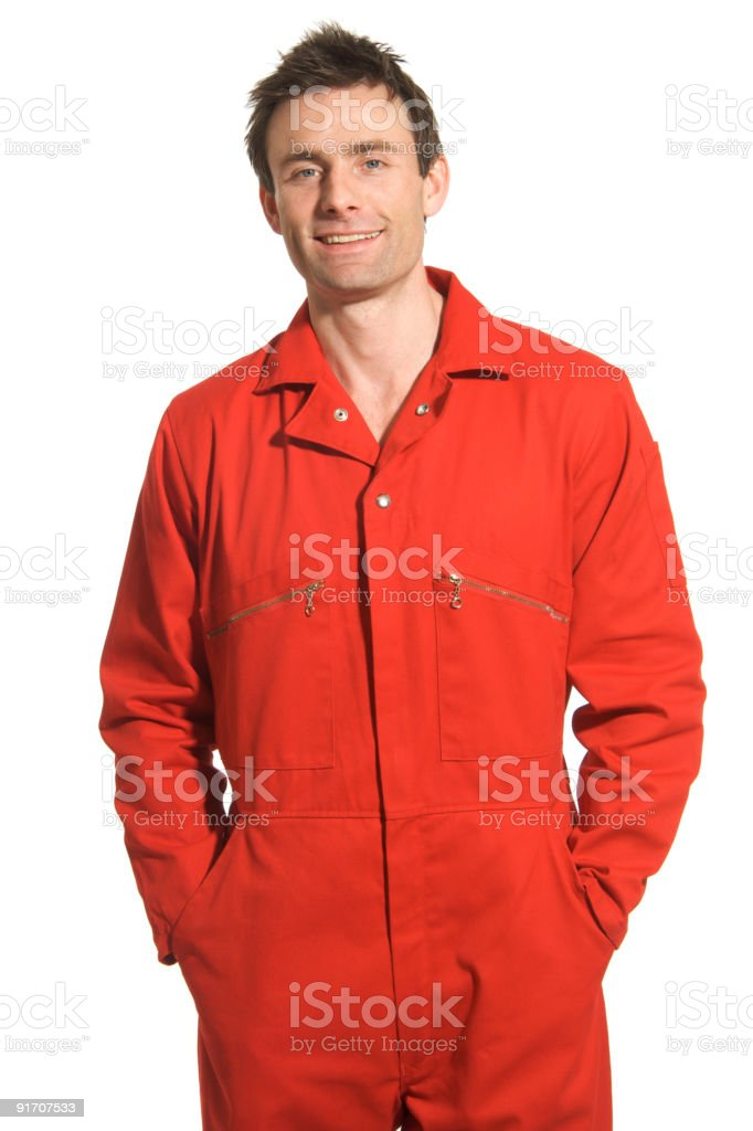 Man in Red Boiler Suit stock photo