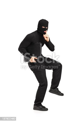istock Man in robbery mask holding a briefcase 137822460