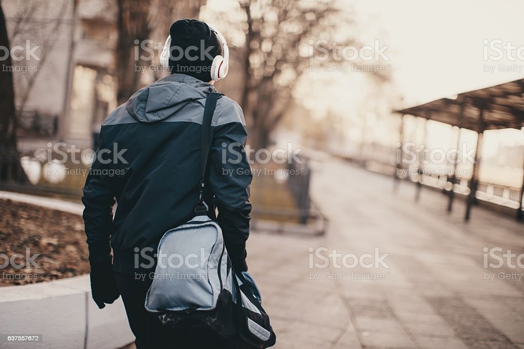 Man in run stock photo