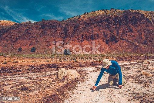 istock Man in Salt Mine near Telouet in High Atlas, Morocco 514381980