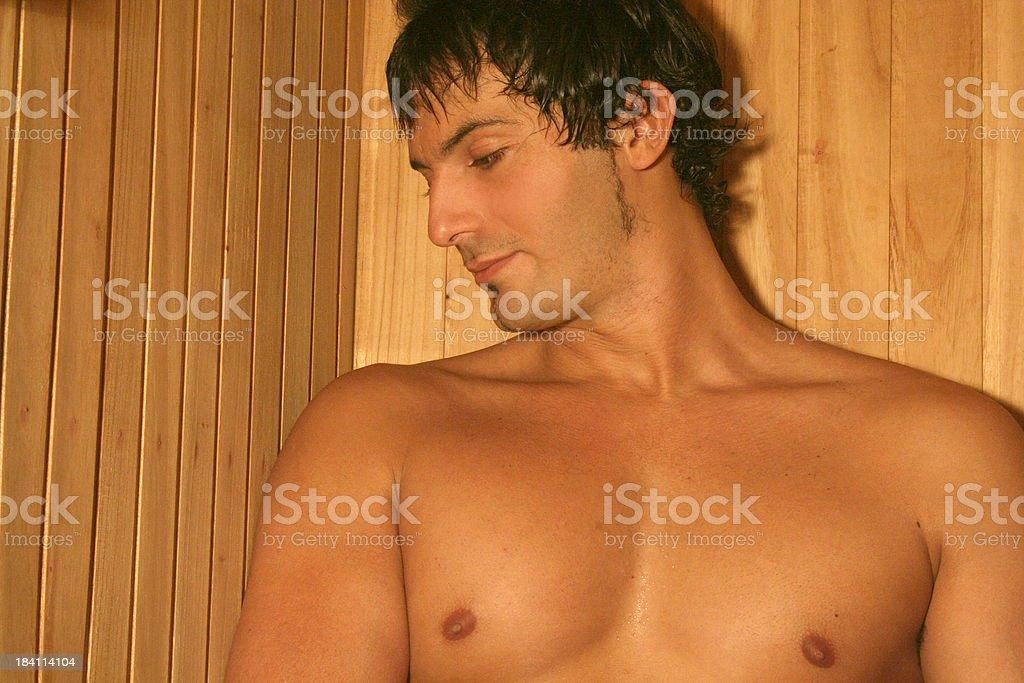 Man in Sauna royalty-free stock photo