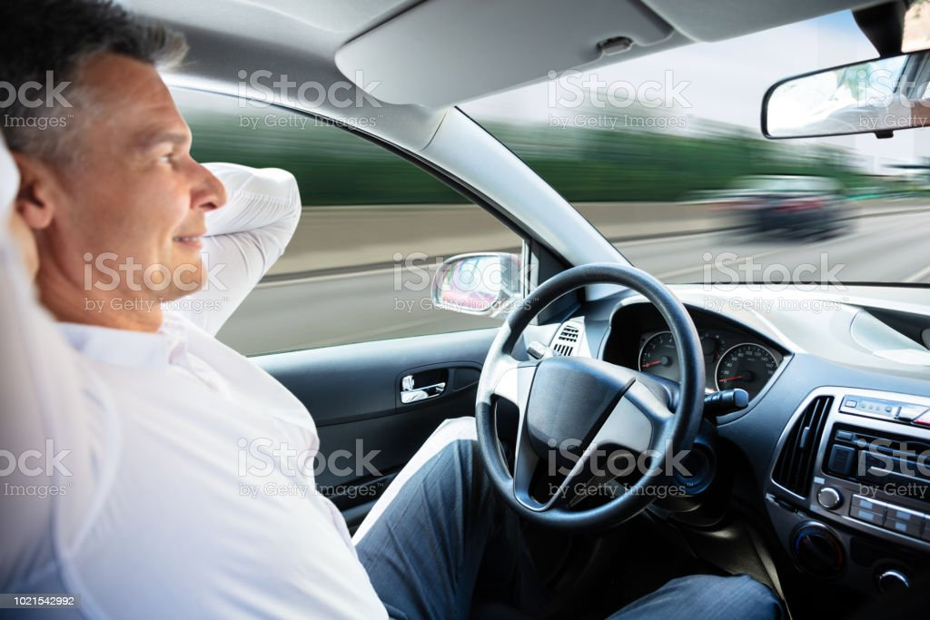Man In Self Driving Car stock photo