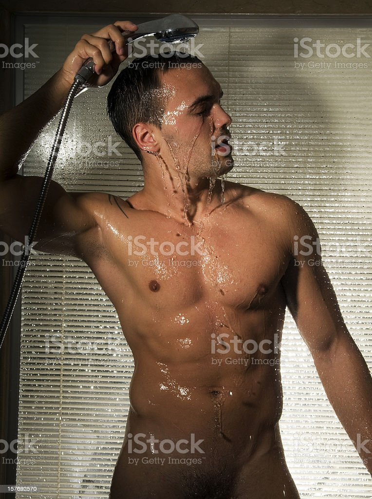 Man in shower royalty-free stock photo