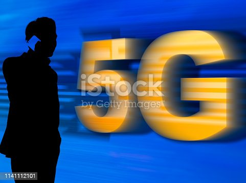 1141355850 istock photo A man in silhouette talking on mobile phone with 5G network - 5G conceptual 1141112101