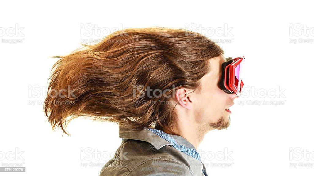 Man in ski glasses goggles. Winter sport. stock photo