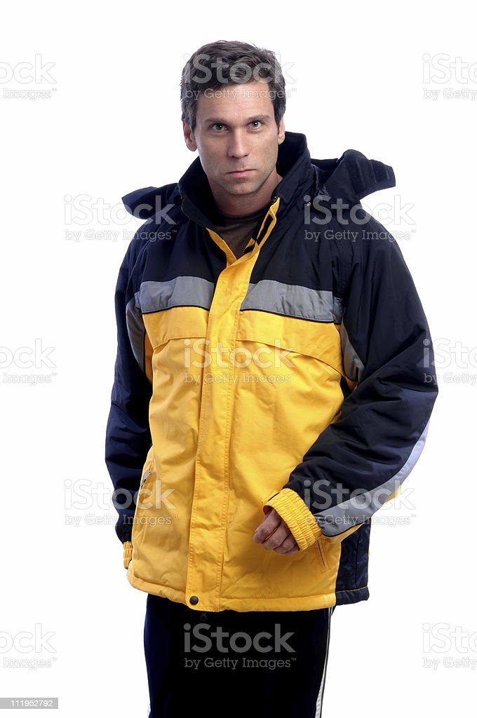 Man in Ski Parka Isolated on White Background stock photo