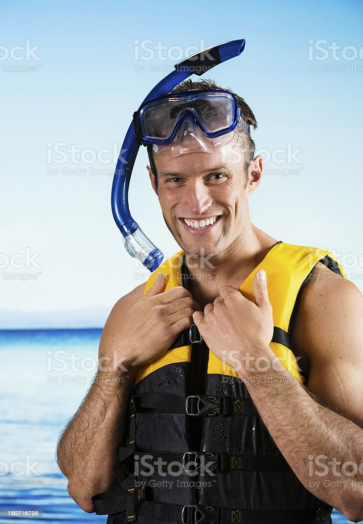 Man in snorkling gear royalty-free stock photo