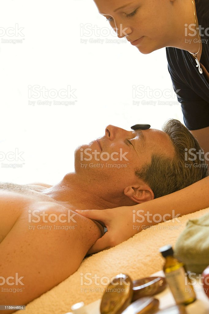 Man in Spa Receiving Massage royalty-free stock photo