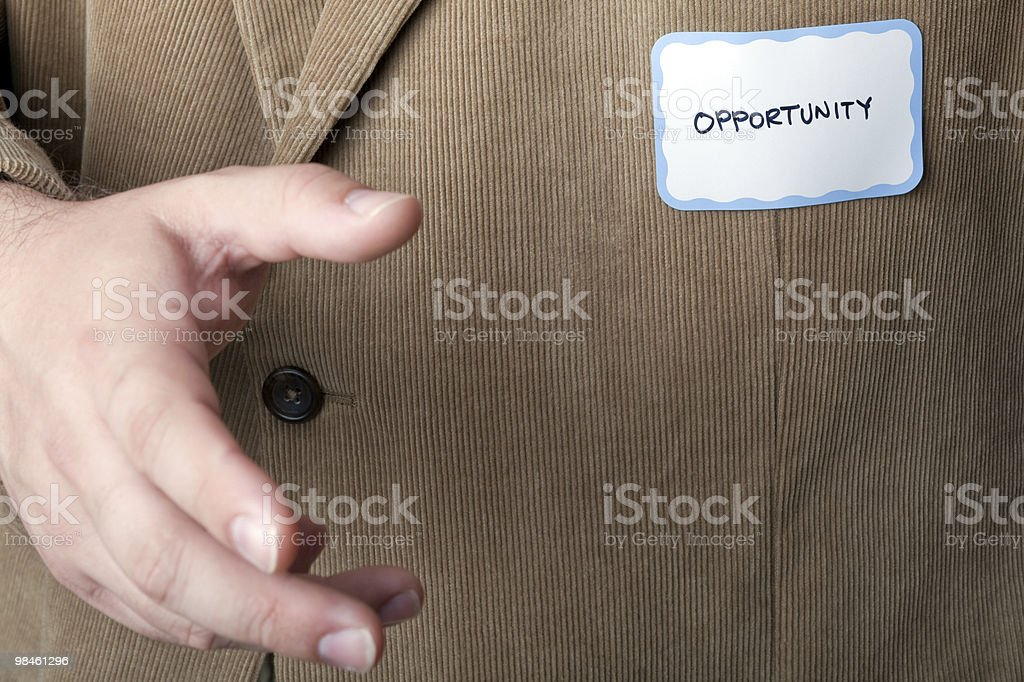 Man in sport jacket with opportunity name tag (XXL) royalty-free stock photo