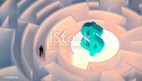 Man in suit walking in a maze or labyrinth seeking or looking for wealth or money symbolized by a dollar sign. Business, career, finance concepts. 3d render illustration.