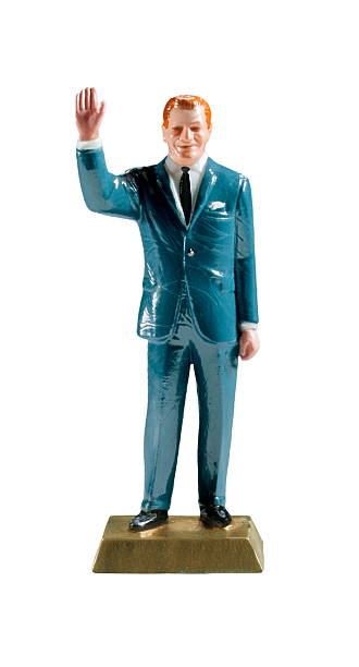 Man in Suit Waving stock photo