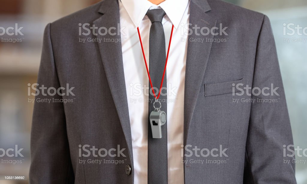 Man in suit wearing a whistle with red string. 3d illustration Sports business. Man in suit wearing a whistle with red string. 3d illustration Adult Stock Photo