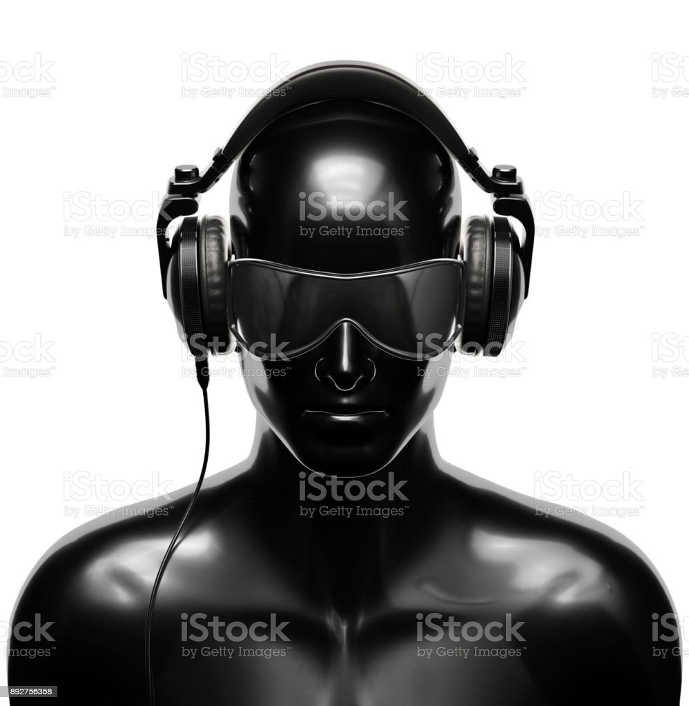 Man in Sunglasses with Headphones stock photo