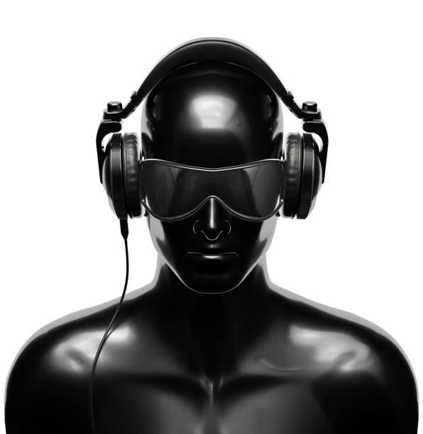 Man in Sunglasses with Headphones stock photo