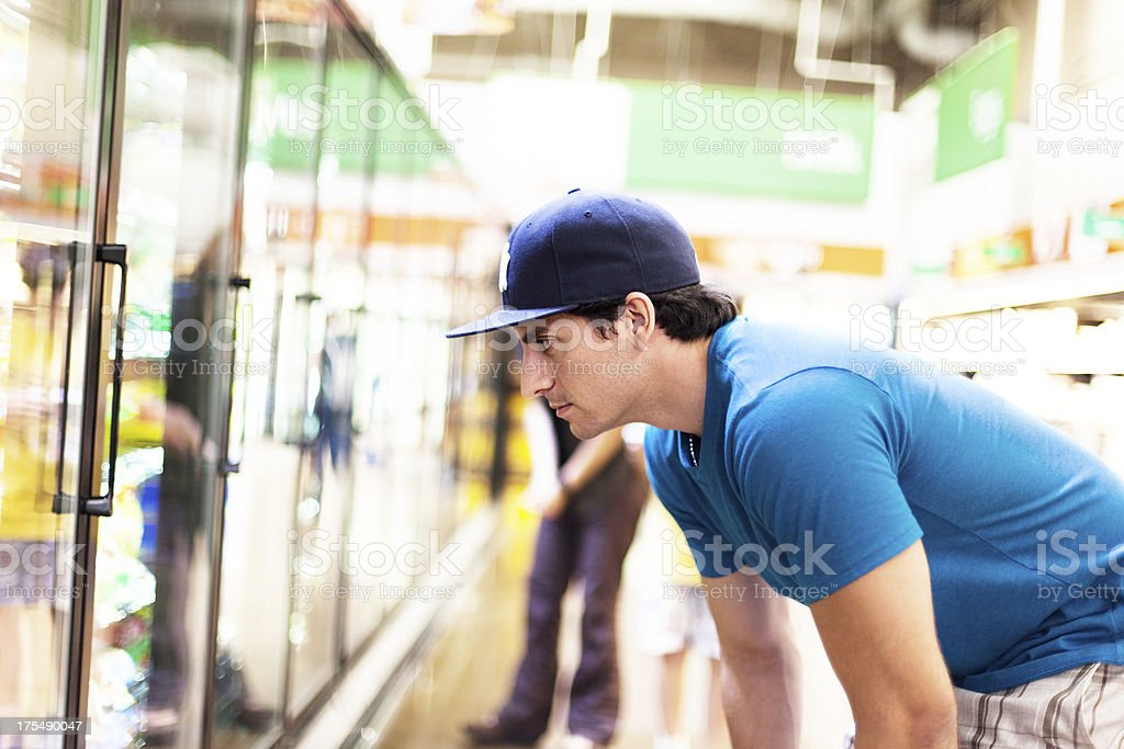 Man in Supermarket royalty-free stock photo