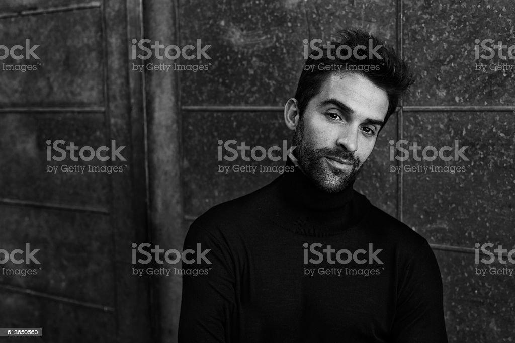 Man in sweater stock photo