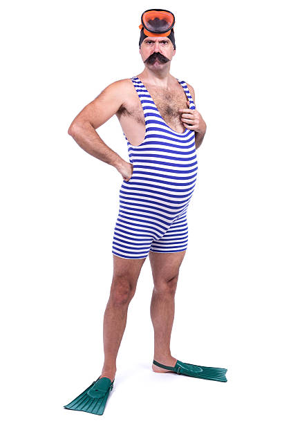 Man in swim dress Man in swim dress isolated on white background diving flipper stock pictures, royalty-free photos & images