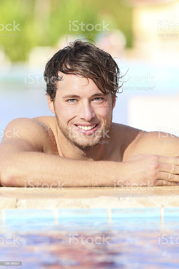 Man in swimming pool royalty-free stock photo