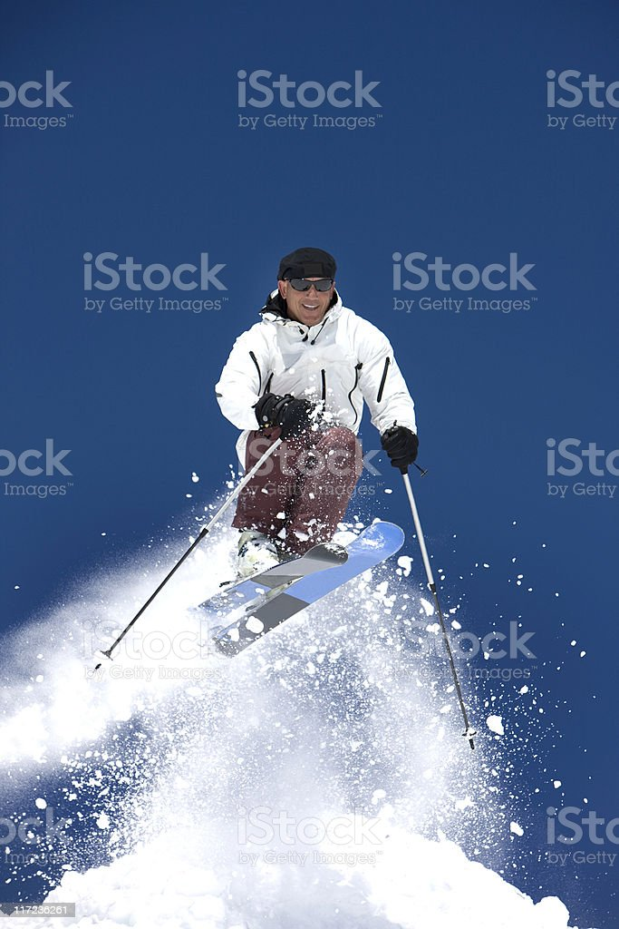 Man In The Air On Skis royalty-free stock photo